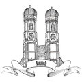 Munich city label munich cathedral building sketch landmark liebfrauenkirche in travel germany emblem bavaria capital sign Stock Images