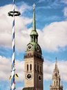 Munich germany maypole and towers at Stock Photography