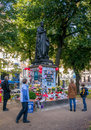 Munich, Germany - October 16, 2011: Makeshift Memorial People Michael Jackson turned on the monument to Orlando di Lasso