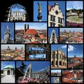 Munich germany photo collage from collage includes major landmarks like city hall the cathedral and skyline Stock Image