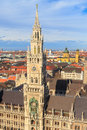 Munich gothic city hall at marienplatz bavaria germany Royalty Free Stock Photo