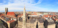 Munich gothic city hall panorama and frauenkirche at marienplatz bavaria germany Royalty Free Stock Photography
