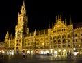 Munich Marienplatz at night. Royalty Free Stock Photo
