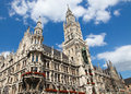Munich neues rathaus the new town hall on the marienplatz in the old town of capital of bavaria germany Royalty Free Stock Image