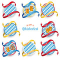 Munich oktoberfest round prongs emblems set design on the white background german text o zapft is and translate on tap and Stock Photo