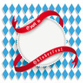 Munich oktoberfest white round prongs emblem design on the background german text o zapft is and translate on tap and Stock Photo