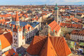 Munich panorama with old city hall holy spirit church and viktualienmarkt bavaria germany Royalty Free Stock Images