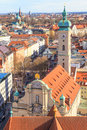 Munich panorama with old city hall holy spirit church and viktualienmarkt bavaria germany Stock Image