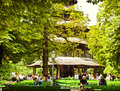 Munich - people relax outdoors at Chinese tower beer garden of E Royalty Free Stock Photo