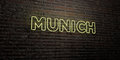 MUNICH -Realistic Neon Sign on Brick Wall background - 3D rendered royalty free stock image