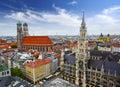 Munich skyline germany at city hall Royalty Free Stock Photo