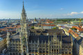 Munich town hall seen from above new rathaus from marienplatz in germany the most famous attraction of germany Royalty Free Stock Photo