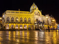 Municipal house prague at night and under a warm lights Royalty Free Stock Image