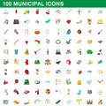 100 municipal icons set, cartoon style