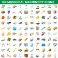100 municipal machinery icons set, cartoon style