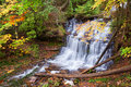 Munising michigan s wagner waterfalls in autumn colors surround falls the season these spill over the rocky terrain that is well Stock Photo