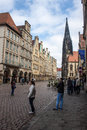 Munster germany may people on street on may in largely destroyed during world war ii it was reconstructed from to Royalty Free Stock Photography