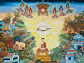 Mural buddhist art in thai temple thailand Stock Image