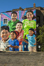 Mural in chicago on a building pilsen Royalty Free Stock Photography