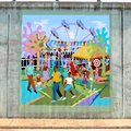 Mural of families at an amusement park on a bridge underpass on james rd in memphis tn men women and children having fun family Stock Images