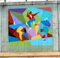 Mural of people dancing on a bridge underpass on james rd in memphis tn teenagers and frolicking Royalty Free Stock Image