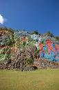 Mural prehistory huge painting cliffs vinales valley cuba Royalty Free Stock Photos