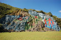 Mural prehistory huge painting cliffs vinales valley cuba Royalty Free Stock Photography