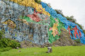 Mural of prehistory in vinales valley pinar del rio cuba is a unesco world heritage site since the painted the wall a cliff is Royalty Free Stock Images