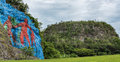 Mural of prehistory in vinales valley pinar del rio cuba is a unesco world heritage site since the painted the wall a cliff is Royalty Free Stock Photos