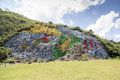 Mural of prehistory the which is meters high and meter wide was painted on the slope the hill it is a singular representation Royalty Free Stock Photography