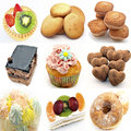 Mural of several cakes on white background Royalty Free Stock Images
