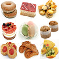 Mural of several cakes on white background Royalty Free Stock Photos