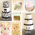 Mural of various cakes forming a background Royalty Free Stock Images
