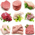 Mural various meats on white background Royalty Free Stock Photography