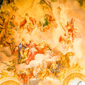 Mural on the wall a in karlskirche temple in vienna austria Royalty Free Stock Photo