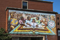 Murals in chicago on a building pilsen Royalty Free Stock Photo
