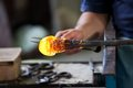 Murano glass blower forming beautiful piece of venice italy Stock Photo