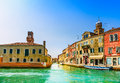 Murano glass making island water canal and buildings bridge boat traditional venice or venezia italy europe Stock Photo