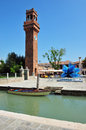 Murano island in the venetian lagoon italy ita may clock tower of northern on may it is famous for its glass making Royalty Free Stock Photos