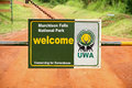 Murchison falls national park entrance gate closeup uganda september a close up look at the and welcome sign to uganda on Stock Photos