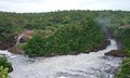 Murchison fals in africa high angle panoramic view of the falls uganda Royalty Free Stock Images