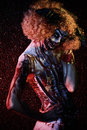 Murderer clown evil stained in blood female zombie halloween horror Stock Images