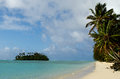 Muri lagoon in rarotonga cook islands palm trees on the bech and small coral islet at Stock Photography