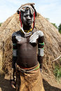 Mursi tribe woman tribes ethiopia omo valley africa Royalty Free Stock Image