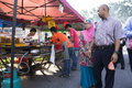 Murtabak on the pan kuala lumpur july unidentifeid man and women look at at ramadan bazaar in kuala lumpur malaysia july Royalty Free Stock Images