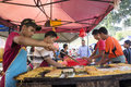Murtabak on the pan kuala lumpur july unidentifeid street food seller preparing fried for their customers during ramadan bazaar in Royalty Free Stock Images