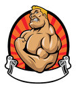 Muscle bodybuilder vector of with blank ribbon Stock Images