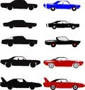 Muscle cars sixties and seventies in silhouette and full color Royalty Free Stock Photography