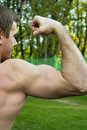 Muscle hand view of a strength and power Royalty Free Stock Images