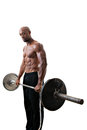 Muscle man holding barbell weights toned and ripped lean fitness lifting isolated over a white background Royalty Free Stock Photo
